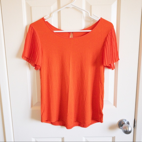 a new day Tops - Orange Ruffle Sleeve Blouse